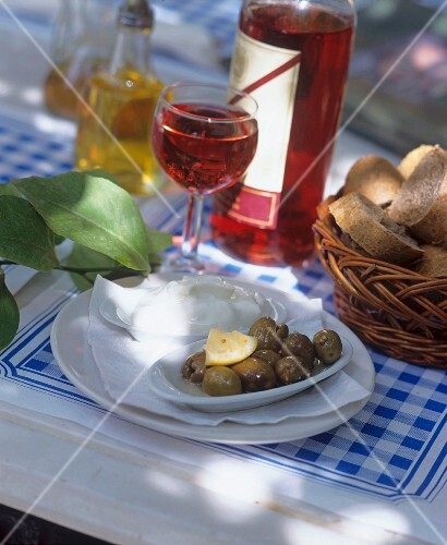 Olives, bread and wine