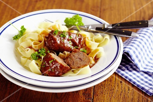 Lothring-style pork cheeks with tagliatelle