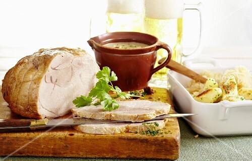 Polish roast pork with sauerkraut and potato pasta