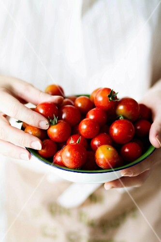 Tomatoes in an enamel dish