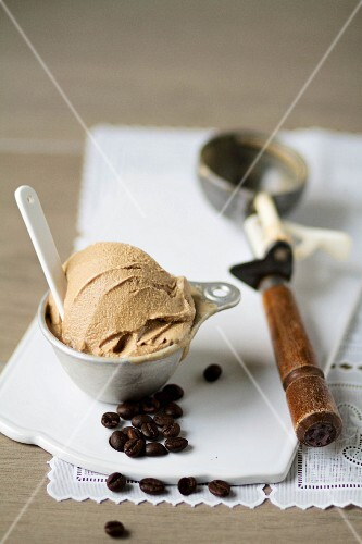 Coffee ice cream and coffee beans