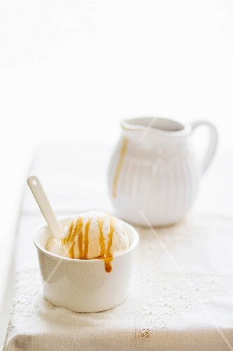 Ice cream with salted caramel sauce