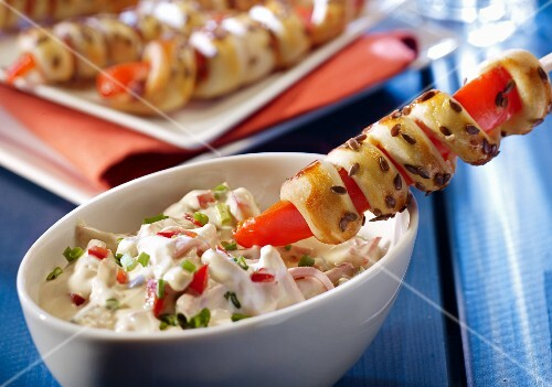 Pepper party skewers with Lyon meat salad