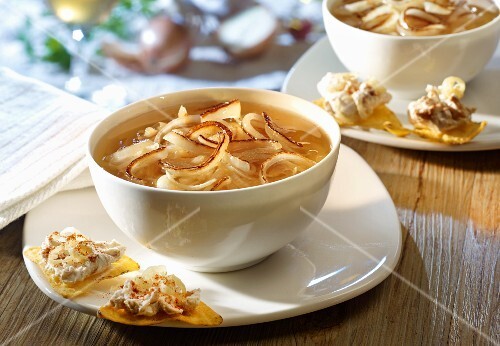 Onion soup with tortilla chips