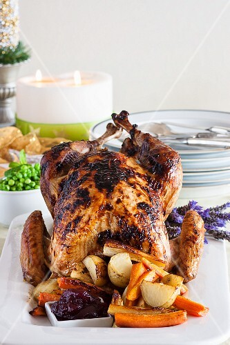 Roast turkey with vegetables and cranberries (Christmas)
