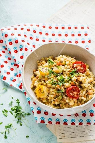 Fregola (Sardinian pasta) with roasted tomatoes