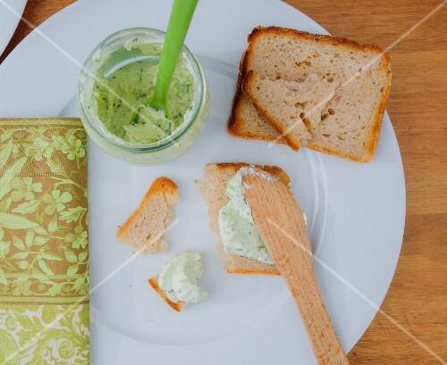 Toast with herb quark