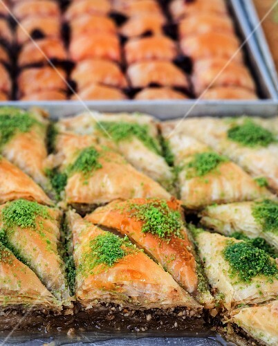 Baklava (filo pastries filled with nuts in syrup, Turkey)