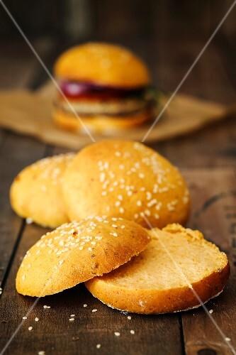 Vegan sweet potato burger buns