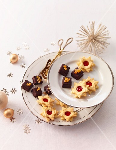 Various Christmas biscuits on plates