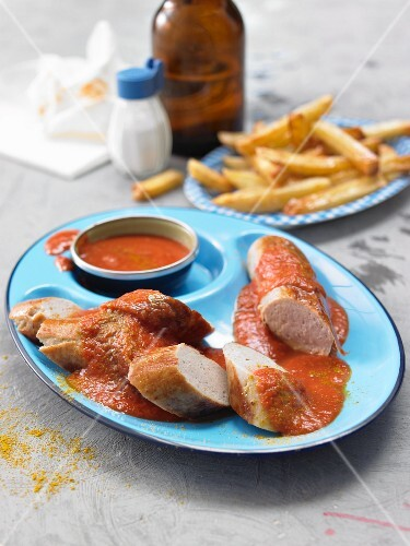 Currywurst (sausage with curry sauce and curry powder) and chips