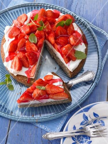 Strawberry and poppyseed cake