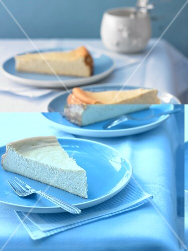 Three slices of baseless cheesecake