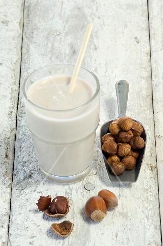 A glass of hazelnut milk