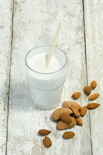 A glass of almond milk