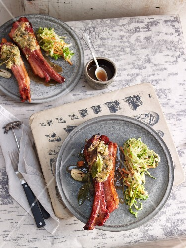 Corned ribs with a walnut and cabbage salad