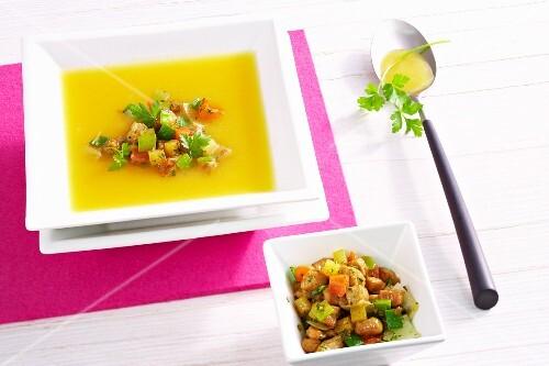 Turnip soup with pork