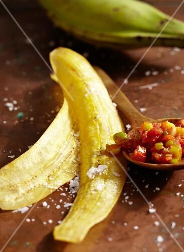 Plantain crisps with salsa de Yolanda (chilli sauce)