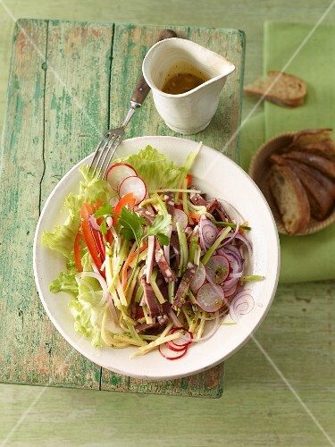 Summer sausage salad with radishes