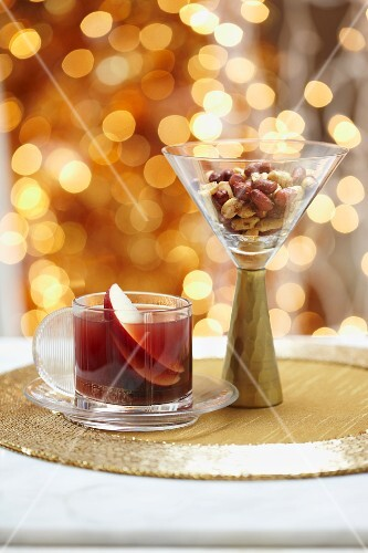 Apple and citrus punch and peanuts