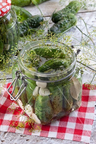 Gherkins with garlic and dill in a preserving jar