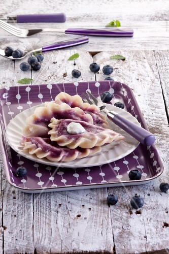 Sweet ravioli with blueberries