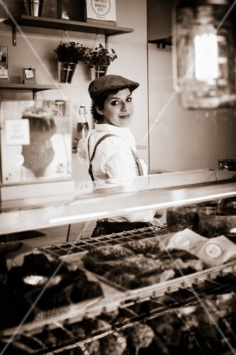 A woman in a food truck
