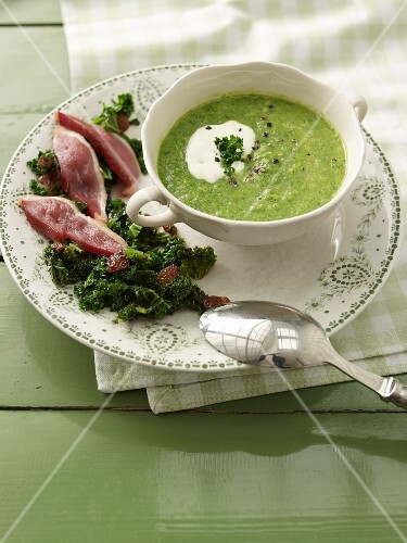 Kale soup with smoked duck breast