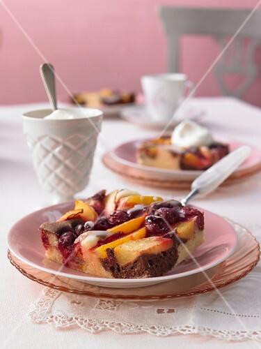 Fruit slices with a lemon glaze