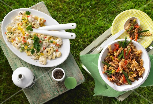 Tortellini salad and fiery pasta salad for a barbecue party
