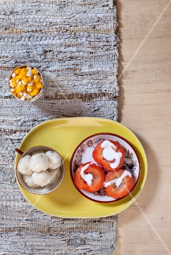 Sticky rice with poached plums, China