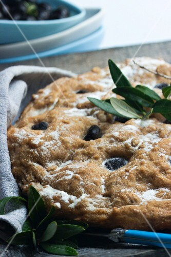 Ciabatta made from cornflour dough with black olives