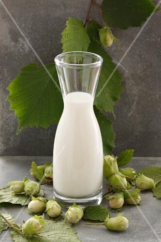 Hazelnut milk and green hazelnuts
