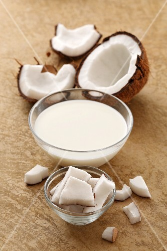 Coconut milk and a coconut