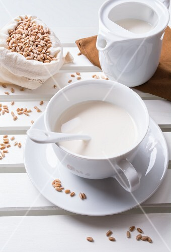 Spelt milk in a white cup