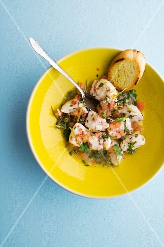 Monkfish ceviche with limes, lime leaves and fresh coriander