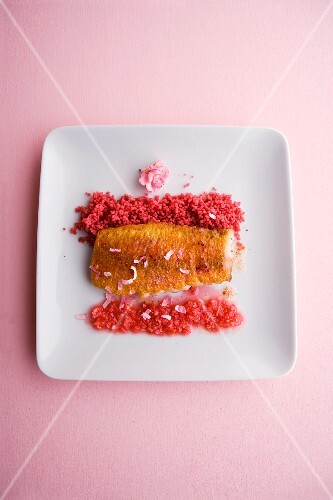 Roasted red mullet fillets with rose couscous and salsa rosa