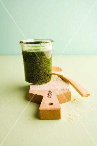Homemade wasabi pesto