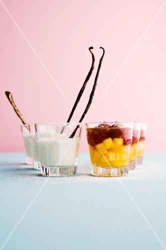 Vanilla yoghurt Bavarian cream with Thai mango and raspberry compote