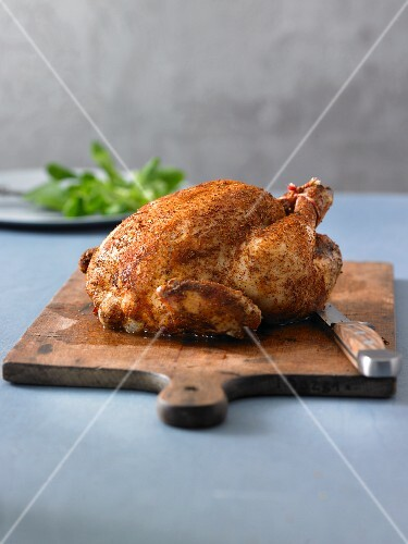 Roast chicken baked in a Bundt tin