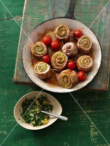 Involtini with marsala sauce and gremolata