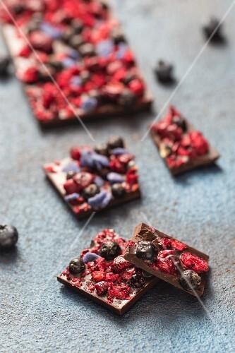Homemade chocolate with freeze-dried fruits