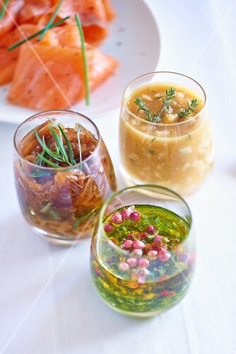 Three different sauces for smoked salmon