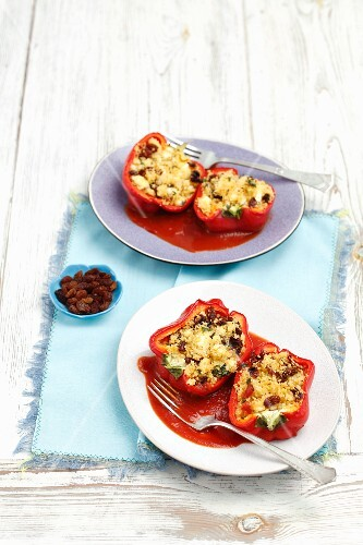 Peppers stuffed with couscous, raisins, dried tomatoes and feta cheese
