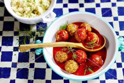 Fish dumplings in tomato sauce