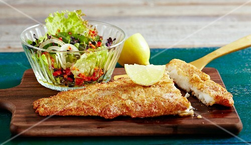 Cod with an almond crust with a side salad