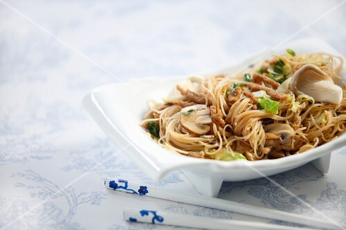 Noodles with a trio of mushrooms