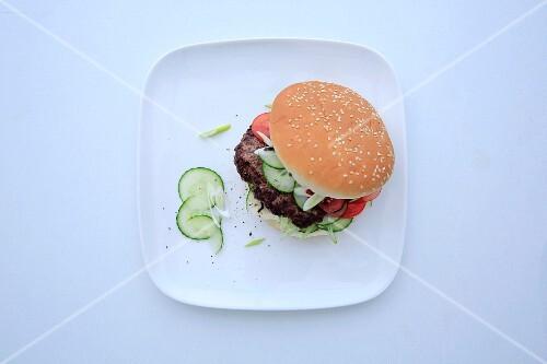 An oriental burger with lemongrass