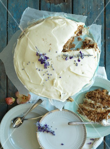 Carrot cake with butter cream and lavender