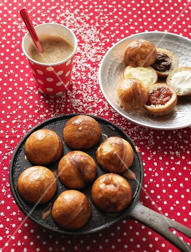 Stuffed Ebelskiver (Danish pancake balls) and Coffey